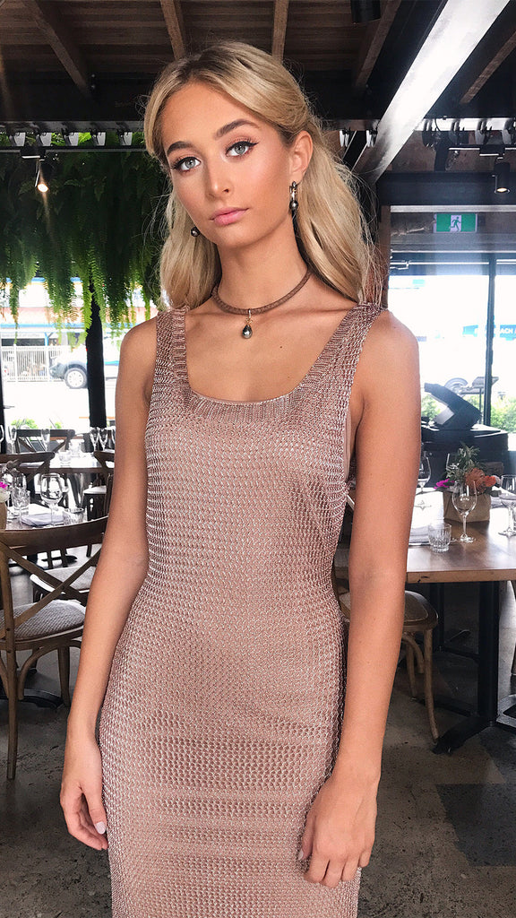 Steel Magnolia Singlet Dress in Metallic Mesh