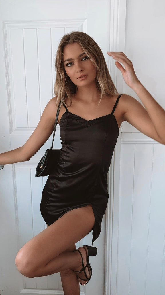 Take Me Out Mini Black Dress