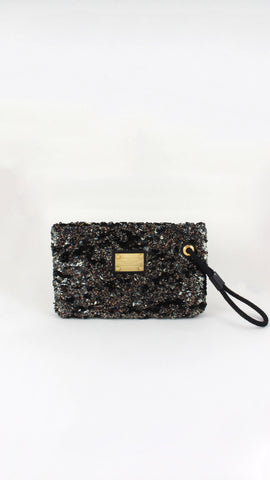 Rococo Porchette Clutch in Black & Gold