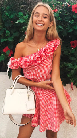 Honest Ruffle Dress in Red Gingham