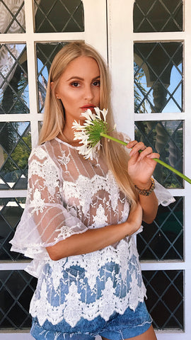 Sound Ruffle Top in Utopia Lace