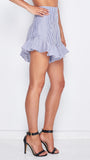 Jett Ruffle Short in Dusted Blue Stripe