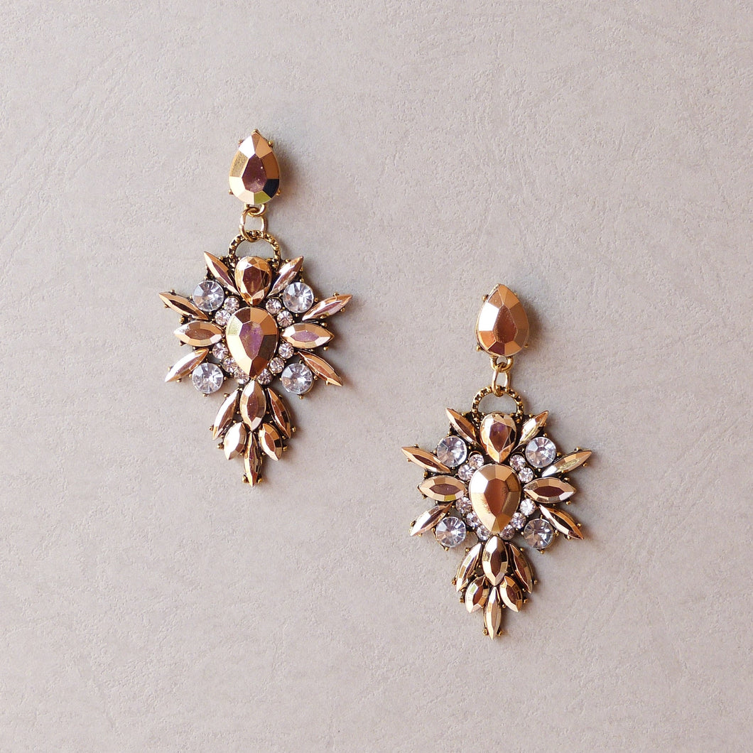 Isabella Rose Gold Statement Earrings - Rachel Rosh Malaysia