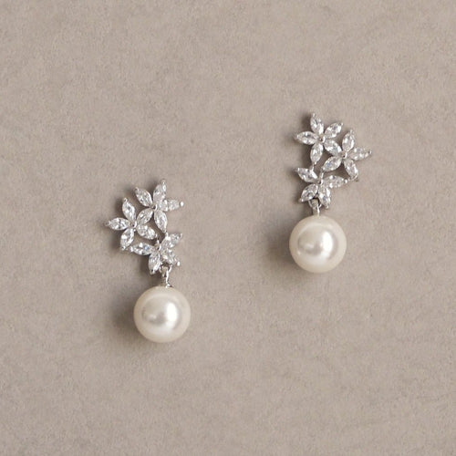 Edith Cubic Zirconia Pearl Earrings