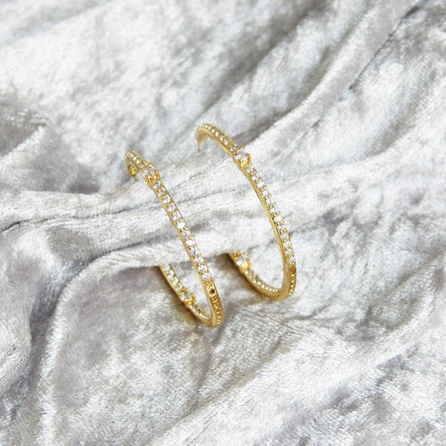Marilla Simulated Diamond Hoop Earrings