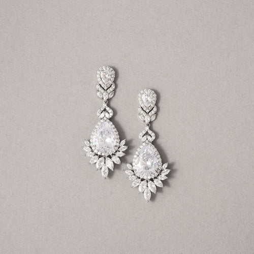 Fiona Simulated Diamond Earrings - White - Rachel Rosh Malaysia