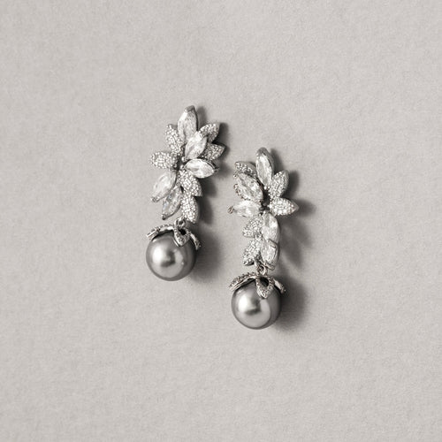 Cecilia Simulated Diamond and Pearl Earrings - Rachel Rosh Malaysia