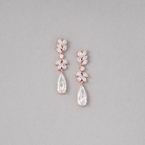 Kiara Rose Gold Simulated Diamond Earrings - Rachel Rosh Malaysia