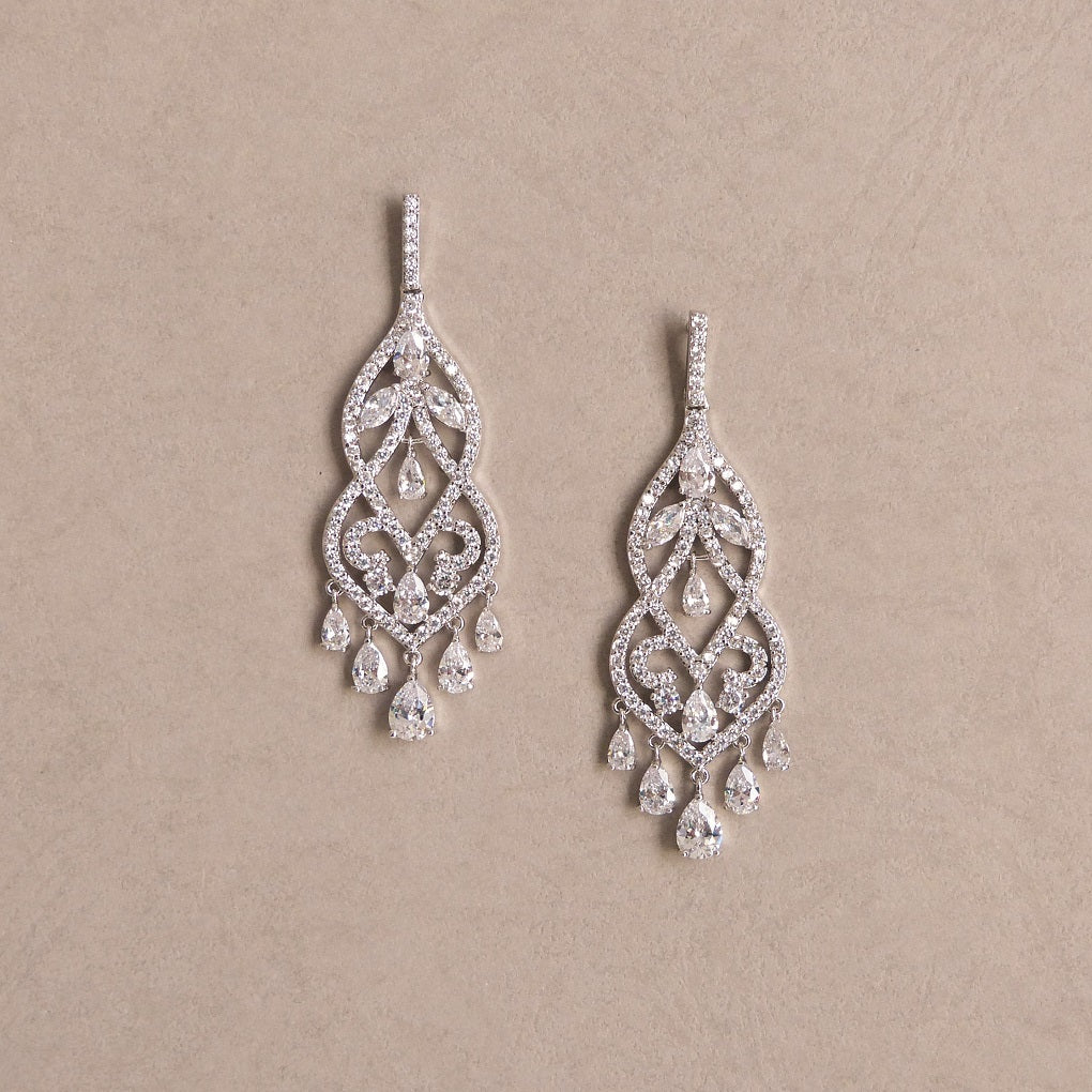 Laura Cubic Zirconia Bridal Earrings