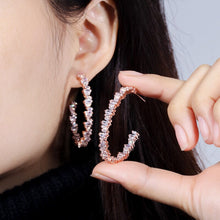 Load image into Gallery viewer, Sofia Rose Gold Simulated Diamond Earrings