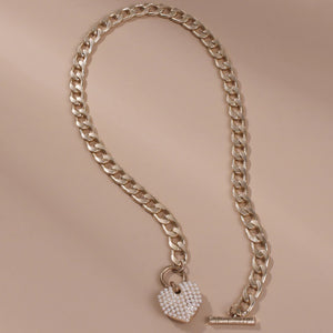 Zahra Pearl Heart Link Necklace - Rachel Rosh Malaysia