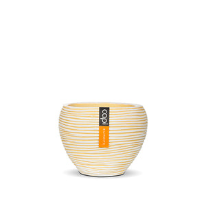 Rib Vase Tapered Round Yellow
