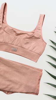 Ribbed Sports Bra - Peach