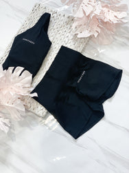 High Waisted Booty Shorts - Black