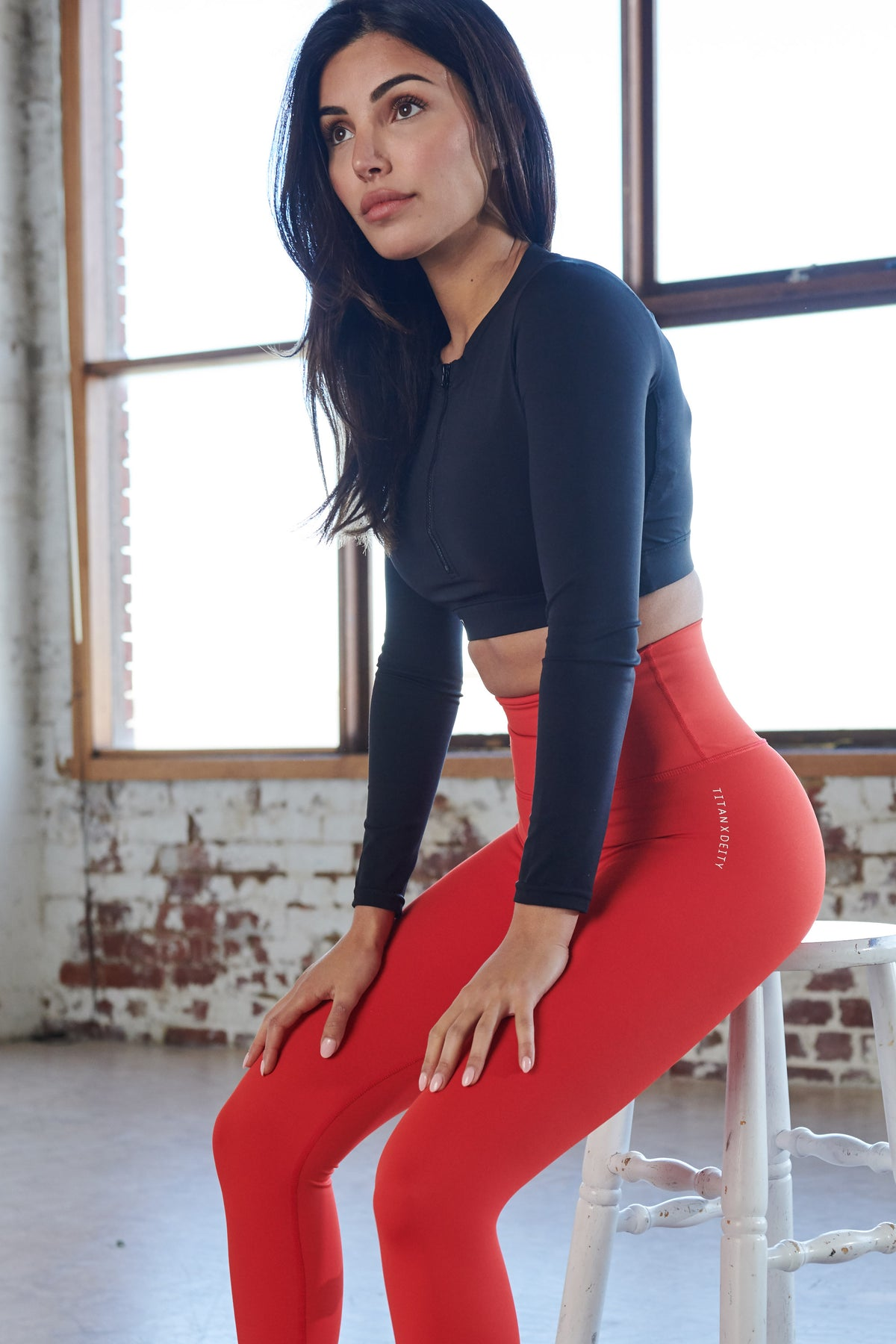 Red Full Length Leggings