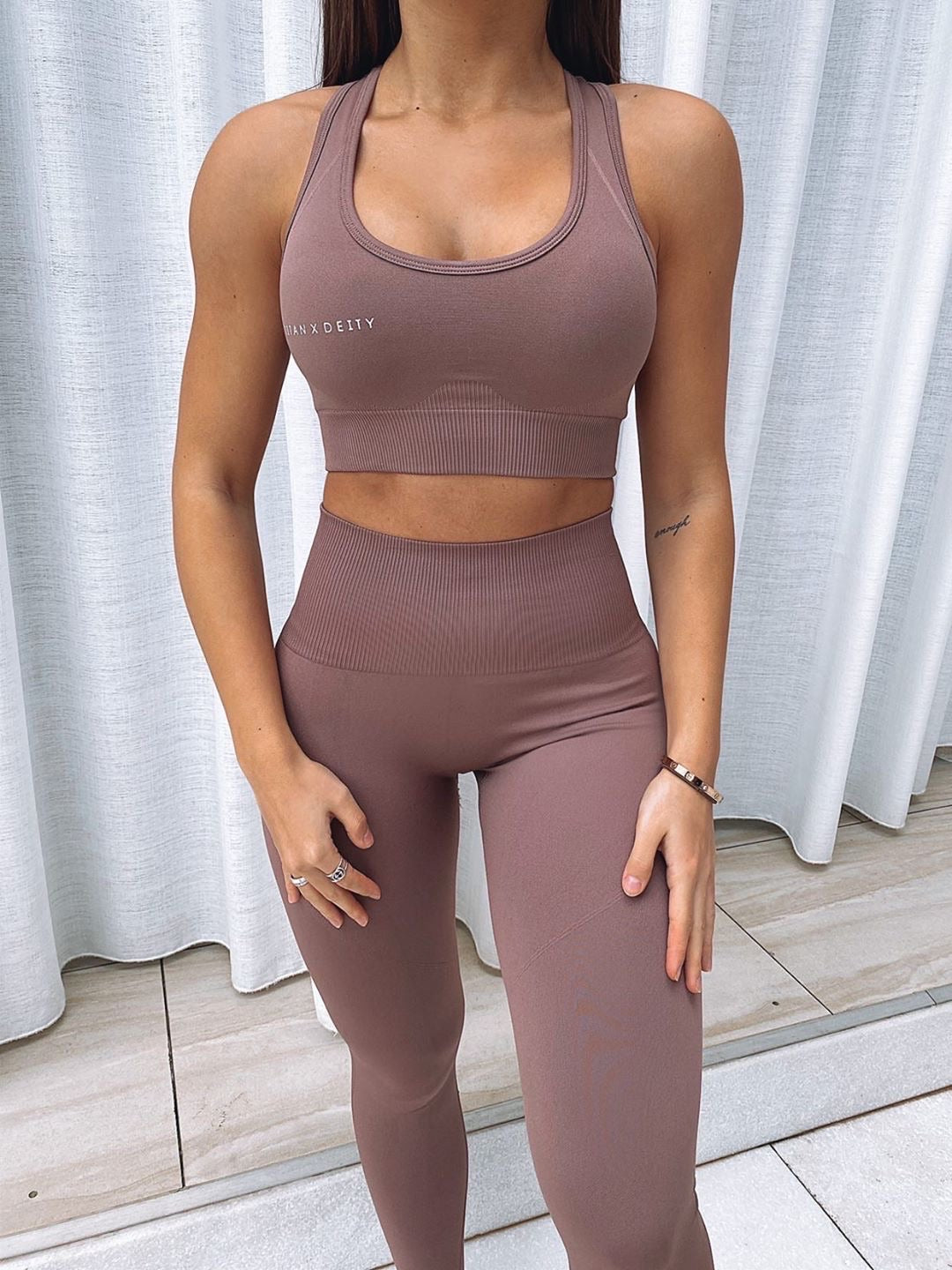 Seamless Sports Bra - Mauve Brown
