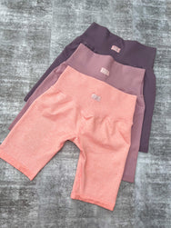Ribbed Bicycle Shorts  - Plum