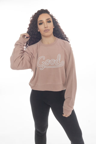 Good Outline Beige Cropped Sweatshirt