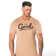 Good Beige Muscle Fit T-Shirt Black Print - BG | Born Good Clothing