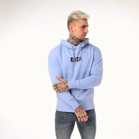 Good Box Logo Hoodie Sky Blue - BG | Born Good Clothing