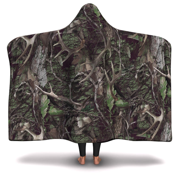 GREEN CAMO HUNTING HOODED BLANKET
