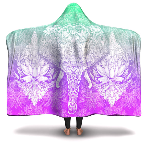 GREEN/PURPLE MANDALA ELEPHANT HOODED BLANKET