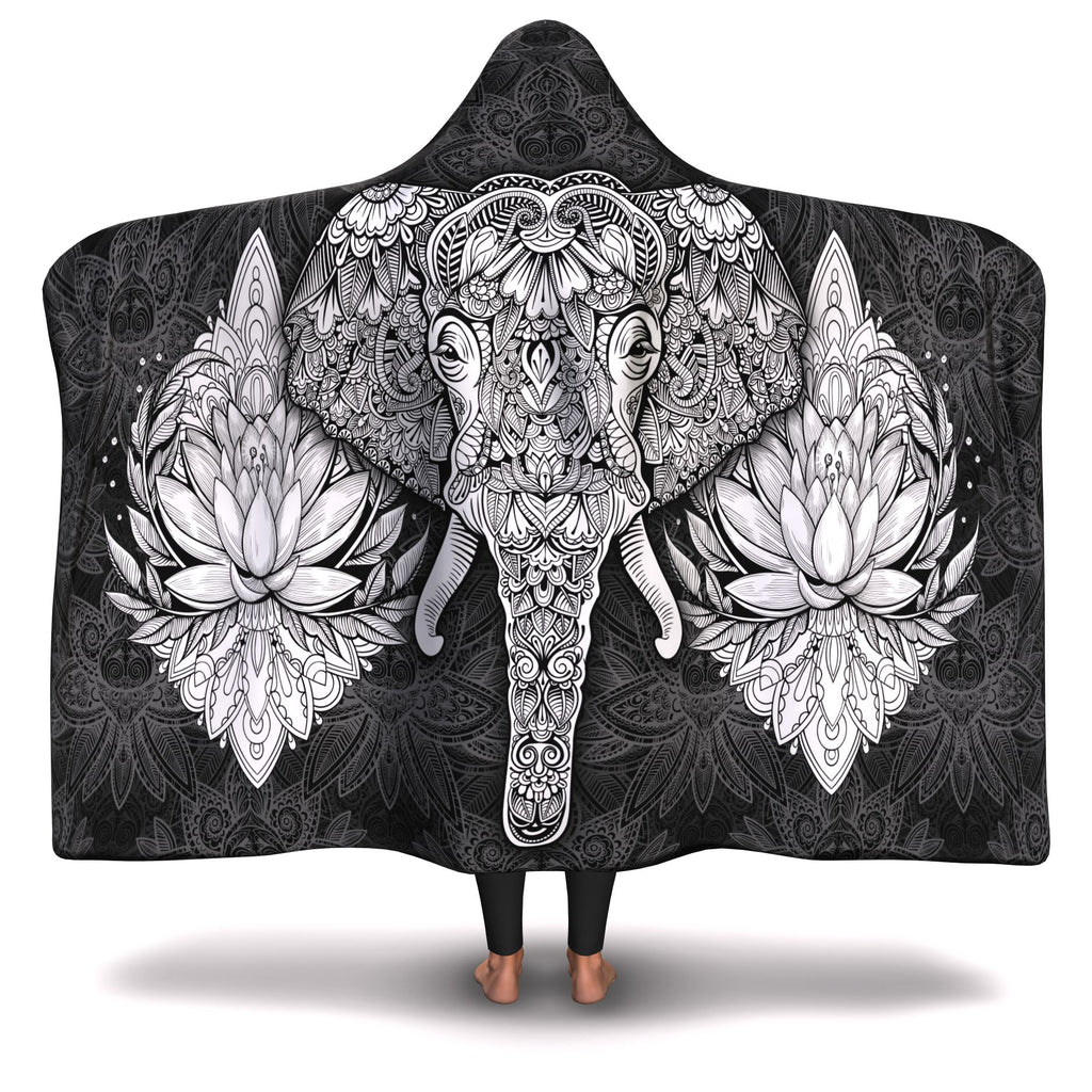 BLACK MANDALA ELEPHANT HOODED BLANKET