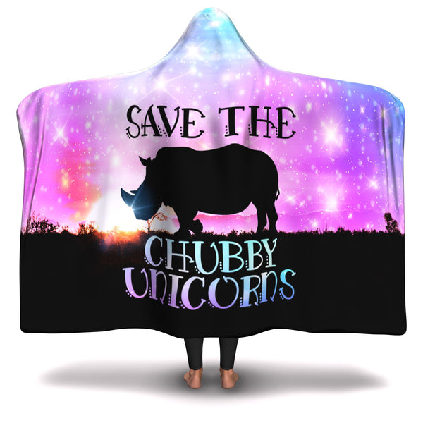 CHUBBY UNICORNS HOODED BLANKET