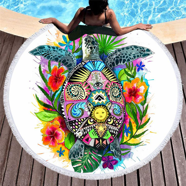 Turtle Life Large Round Beach Towel by Pixie Cold Art