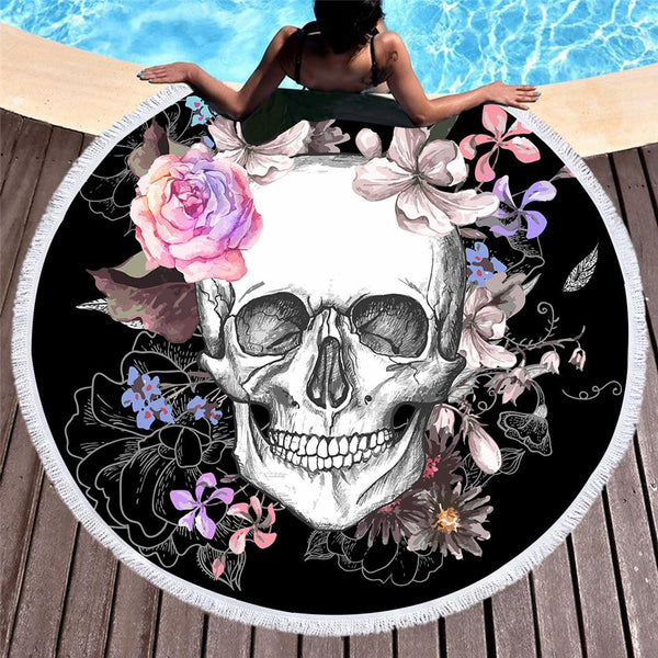 Floral Skull Round Beach Towel