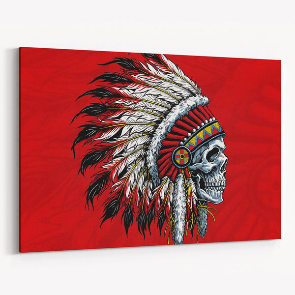 Red Indian Skull Canvas Print