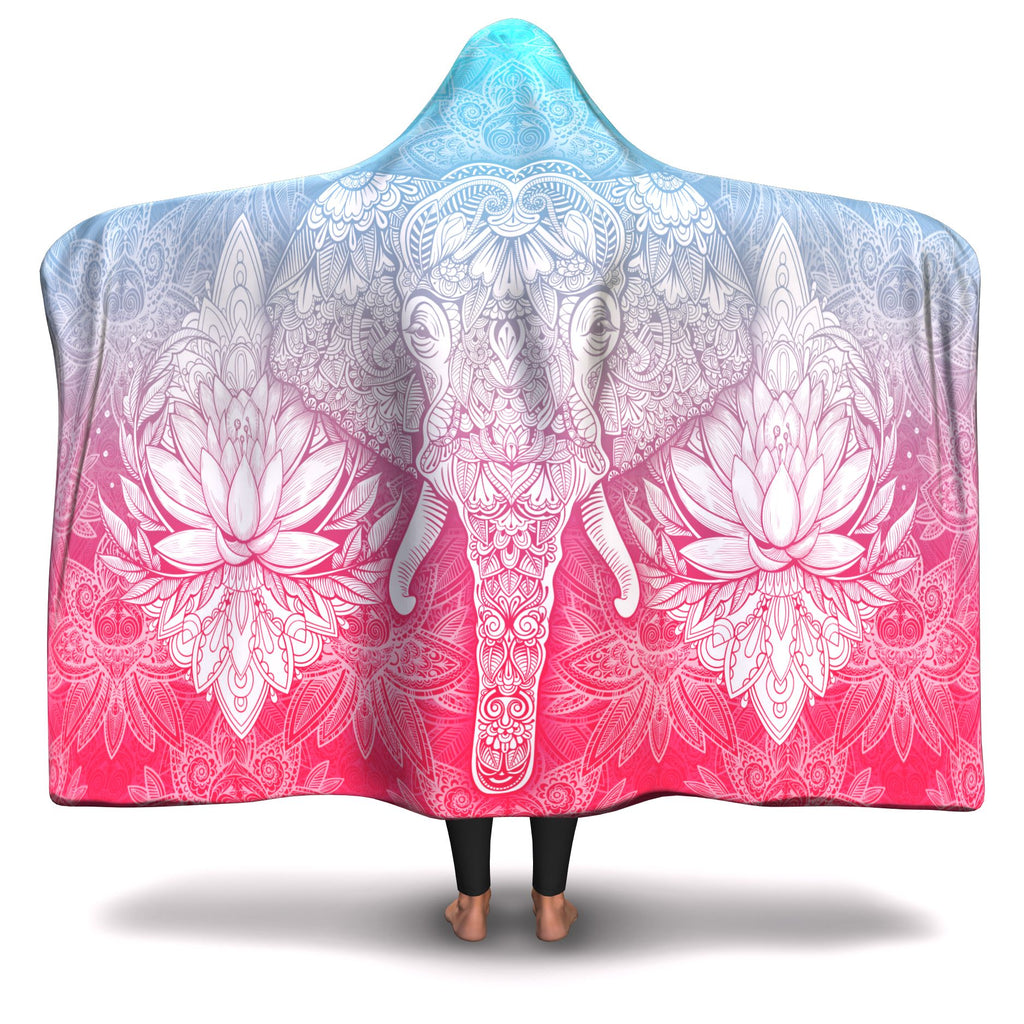 BLUE/PINK MANDALA ELEPHANT HOODED BLANKET