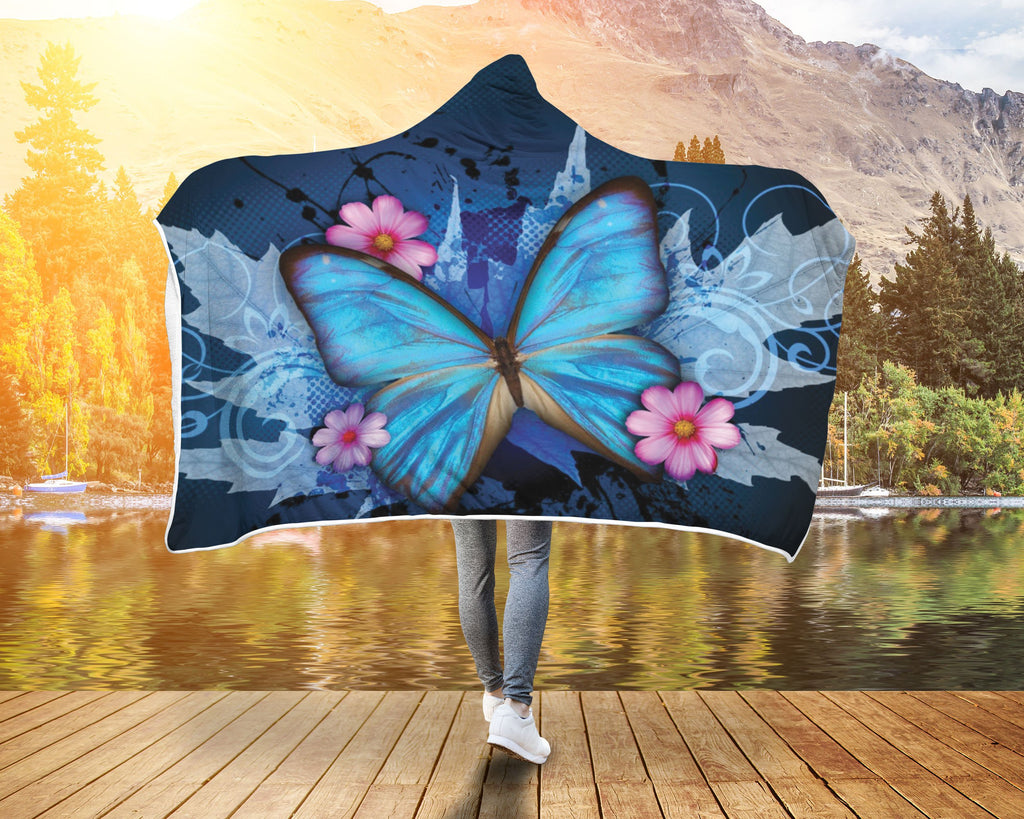 Awesome Blue Butterfly Hooded Blanket