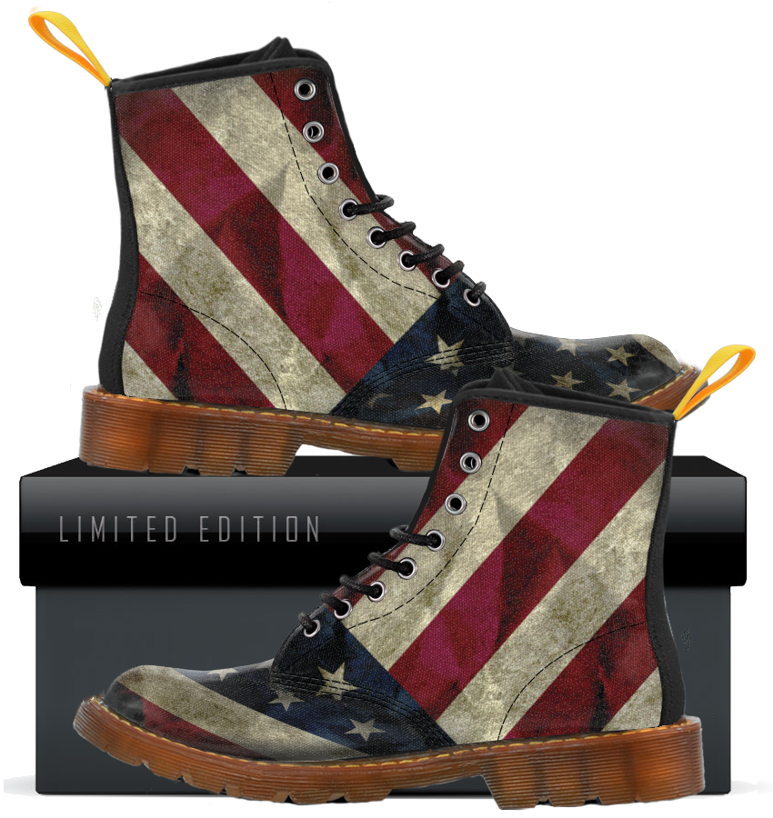 USA Flag Womens Canvas Boots - Black