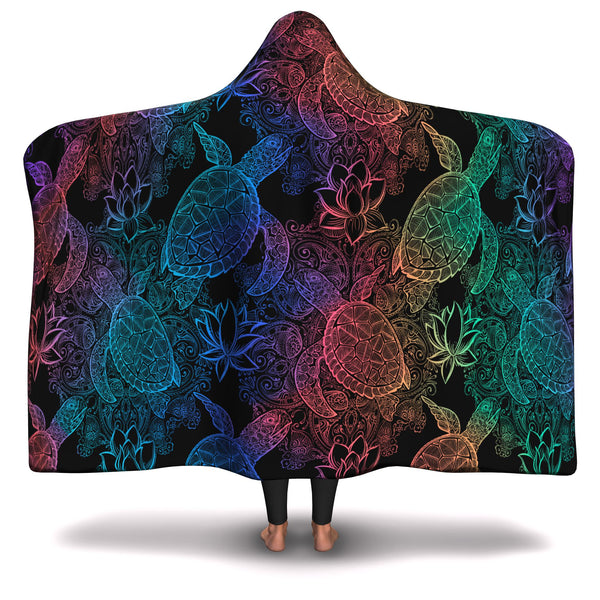 RAINBOW SEA TURTLE HOODED BLANKET