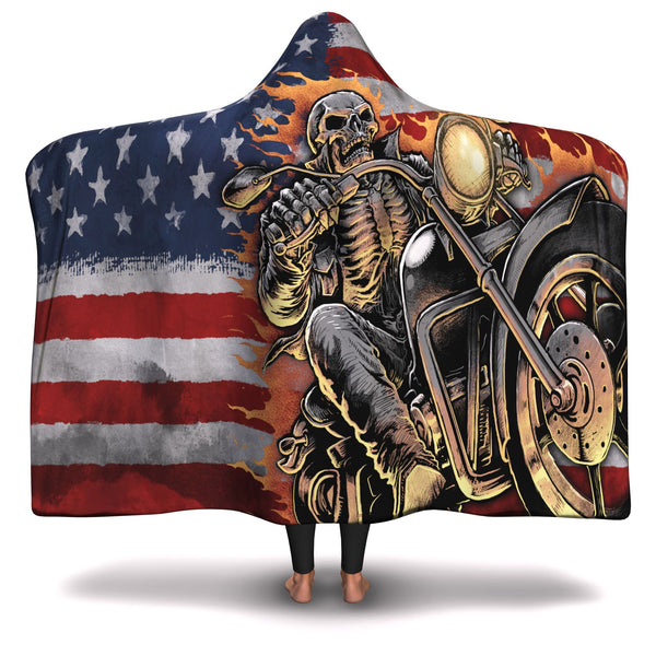 SKULL BIKE HOODED BLANKET