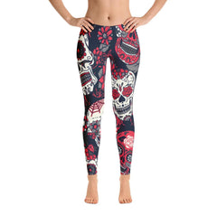 Red Sugar Skull Leggings