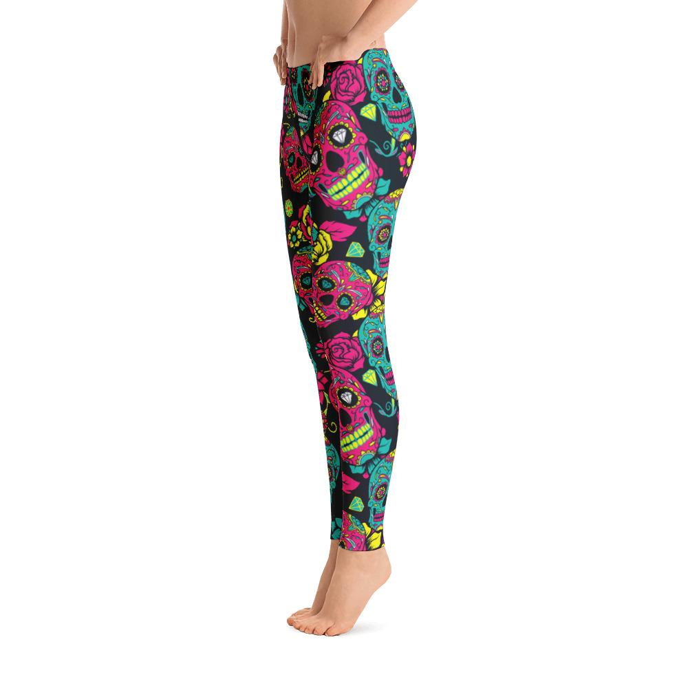 Flower Sugar Skull Leggings