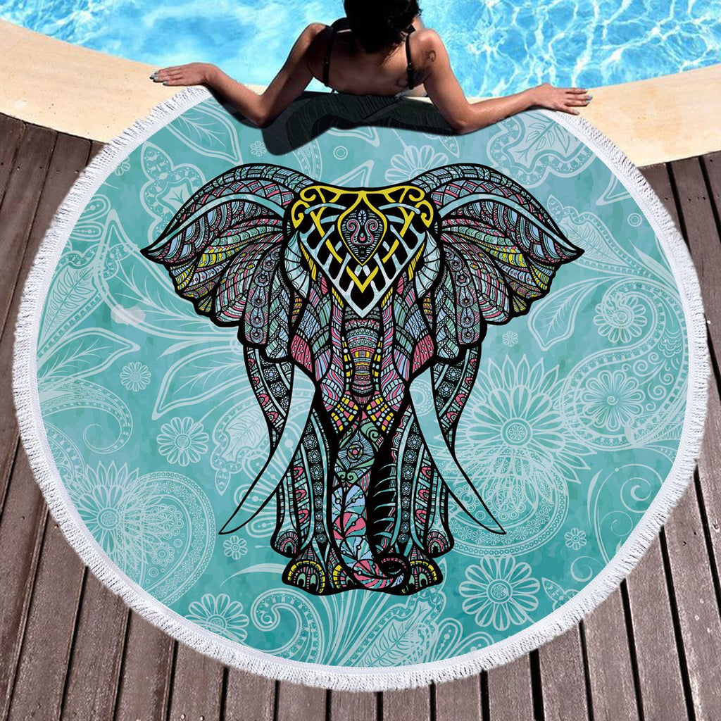 Blue Bohemian Elephant Beach Towel