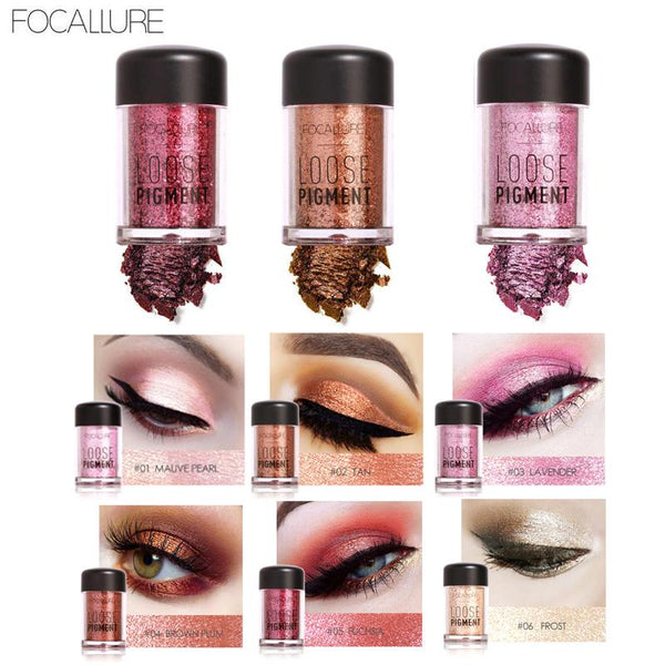 Focallure 12-Color Glitter Eyeshadow Collection