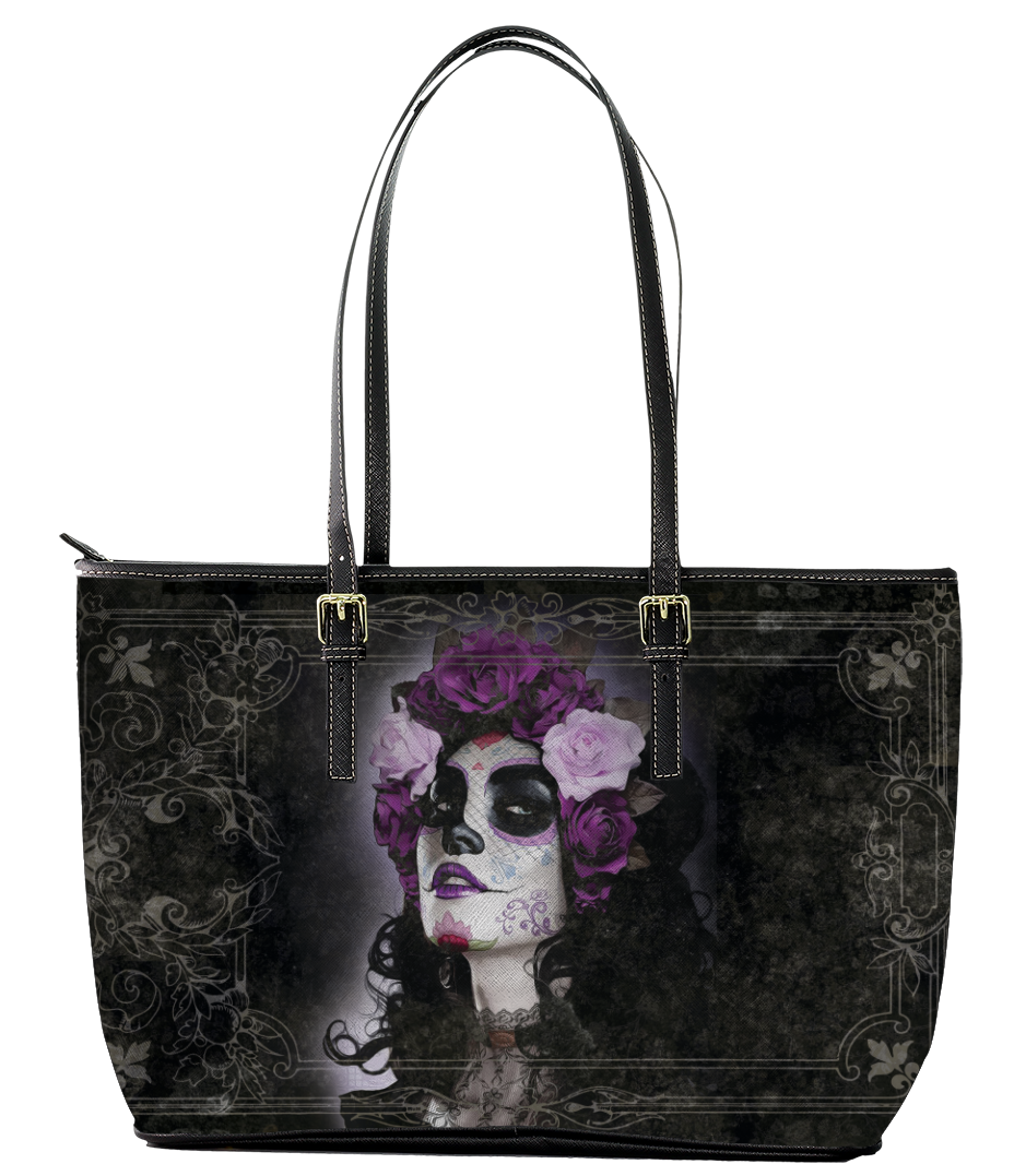 Sugar Skull Leather Tote Bag (Large) - Black