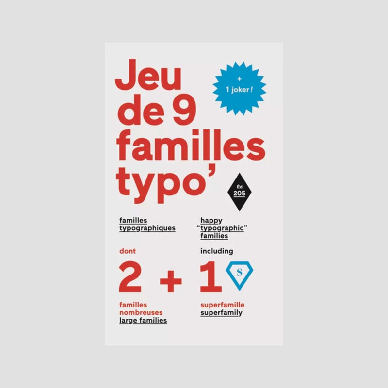 9 Happy Typographic Families Playing Cards