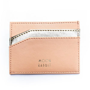 Card Holder - Peach/Gold