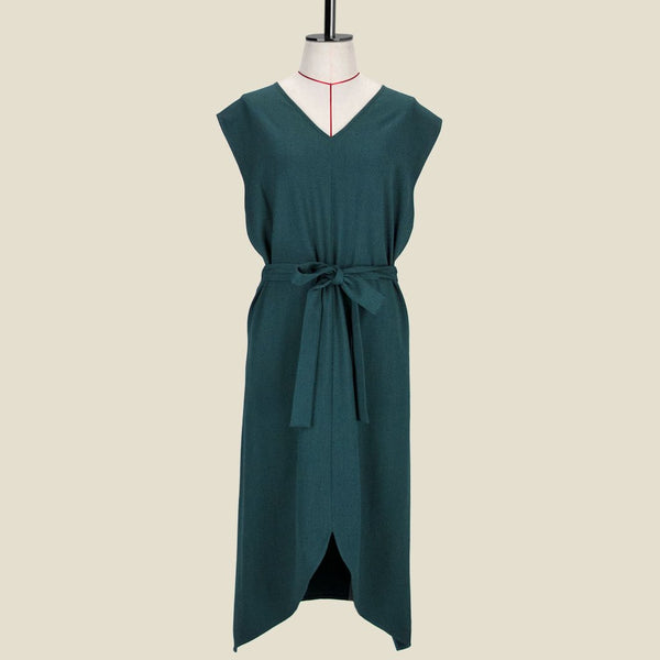 Womb Asymmetric V Back Dress Polyester Rayon Green S