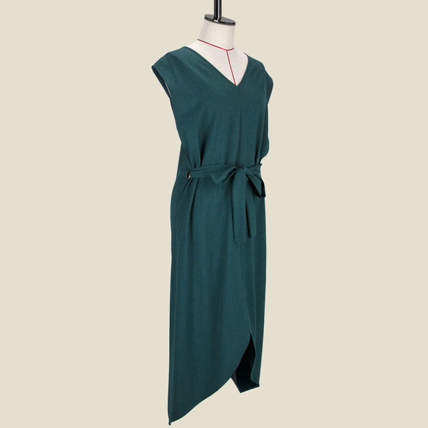 Womb Asymmetric V Back Dress Polyester Rayon Green M