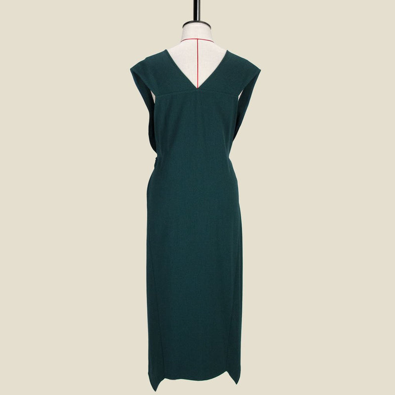 Womb Asymmetric V Back Dress Polyester Rayon Green L