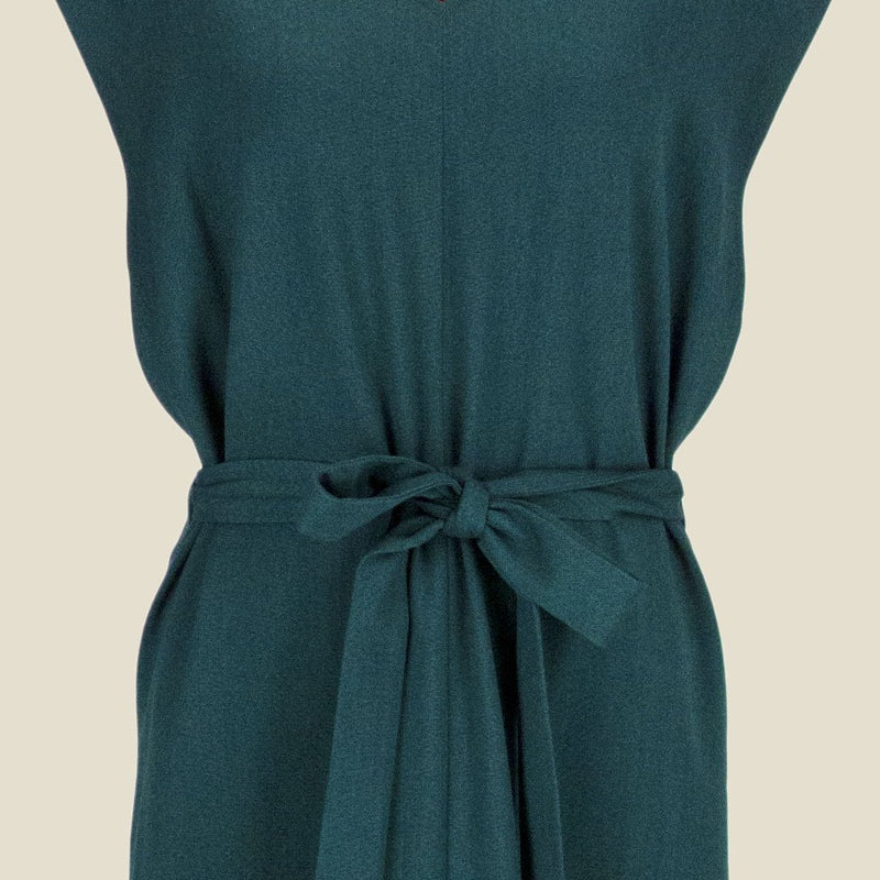 Womb Asymmetric V Back Dress Polyester Rayon Green XL