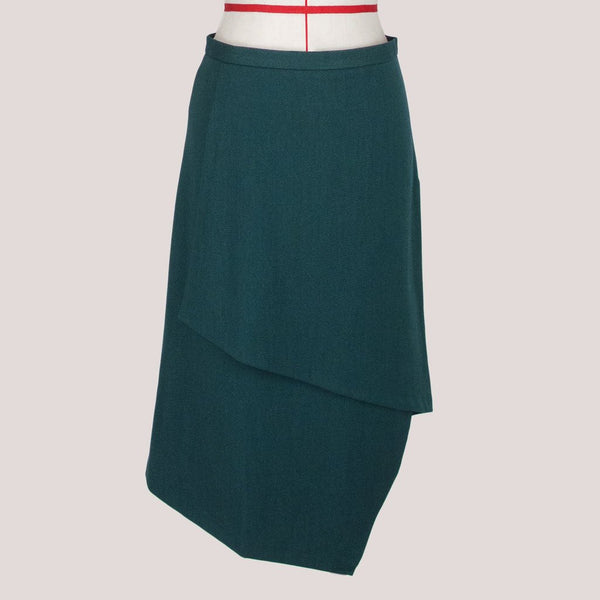 Womb Asymmetric Layer Skirt Polyester Rayon Green S