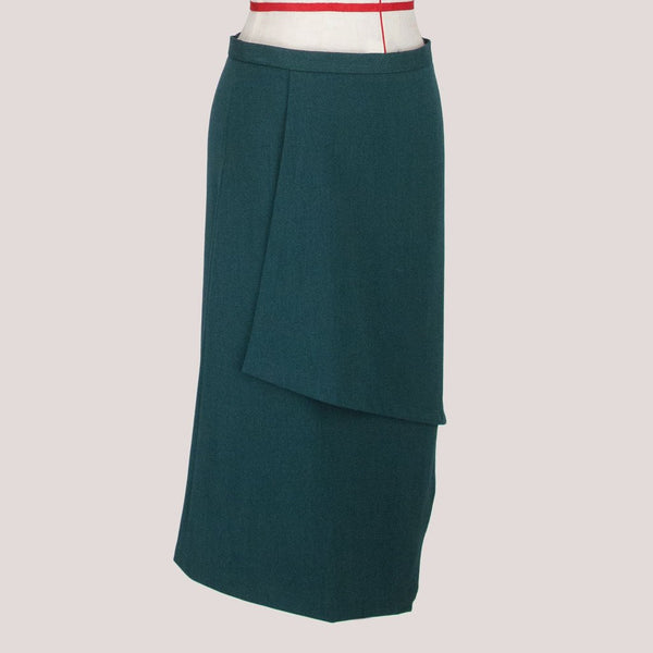 Womb Asymmetric Layer Skirt Polyester Rayon Green M