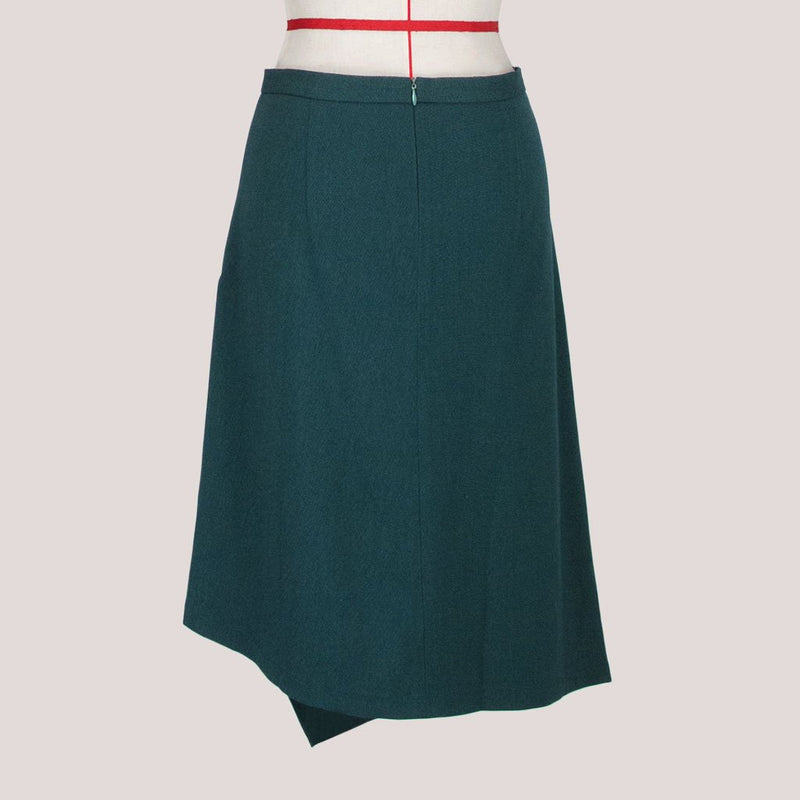 Womb Asymmetric Layer Skirt Polyester Rayon Green L
